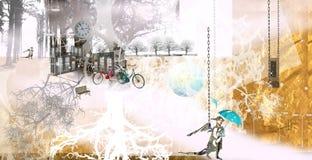 拿着伞的一个小天使走在一个白色公园 免版税库存图片