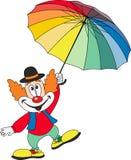 拿着伞的动画片滑稽的小丑 库存图片