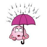 拿着伞的卵细胞反对精子细胞 库存照片
