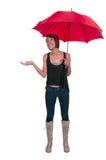 拿着伞的妇女 图库摄影