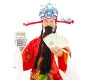 拿着估计机器和金钱的财富的上帝 免版税库存照片
