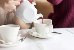 拿着俏丽的茶的杯子女孩 库存照片