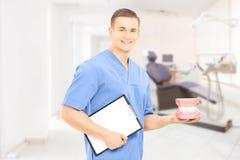拿着假牙的男性牙医外科医生在他的工作场所 免版税图库摄影