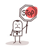 拿着停车牌的动画片商人 库存图片