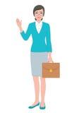 拿着公文包袋子的女老师 免版税库存照片