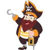 拿着兰姆酒例证的海盗 库存图片