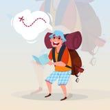 拿着冒险假期概念的人背包徒步旅行者地图旅客Hiling 库存例证
