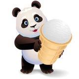拿着冰淇凌的熊猫 传染媒介与简单的梯度的剪贴美术例证 免版税库存照片