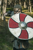 拿着剑和盾在狂放的自然背景的北欧海盗 免版税库存照片