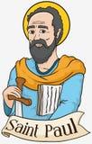 拿着剑和纸卷,传染媒介例证的圣保罗画象
