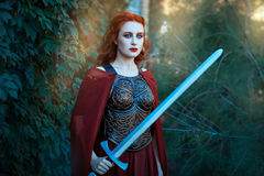 拿着剑的女孩 库存图片