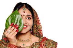 拿着印第安叶子红色莎丽服的美丽的& 图库摄影