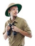 拿着双筒望远镜的探险家 图库摄影