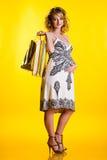 拿着可爱的怀孕的购物妇女的袋子 库存图片