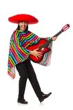 拿着吉他的生动的雨披的墨西哥人被隔绝  库存照片