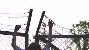 拿着和劫掠-铁丝网在平衡的金黄小时日落的金属篱芭-危险笼子的标志妇女的手和 影视素材