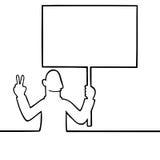 拿着和平拒付符号的人 向量例证