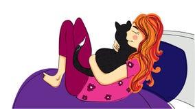 拿着和拥抱恶意嘘声的pijama的逗人喜爱的微笑的女孩 : 漫画人物o 免版税图库摄影