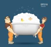 拿着和运载白色浴缸的两名装载者搬家工人 向量例证