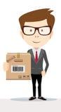 拿着和运载cardbox的送货人 库存例证