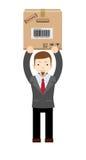 拿着和运载cardbox的年轻送货人 皇族释放例证