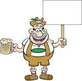拿着啤酒和标志的动画片人 免版税库存图片