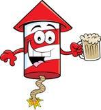 拿着啤酒的动画片微笑的爆竹 免版税库存图片