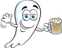 拿着啤酒的动画片微笑的鬼魂 库存照片