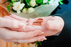 拿着圆环的新娘和新郎 免版税图库摄影