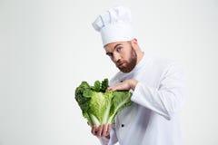 拿着圆白菜的男性厨师厨师 免版税库存照片