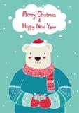 拿着圣诞卡模板的手拉的逗人喜爱的熊礼物盒 圣诞节海报,传染媒介例证 招呼的Sc的模板 库存图片