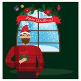 拿着圣诞节礼物的圣诞老人红色帽子的微笑的人手中 圣诞节概念 皇族释放例证