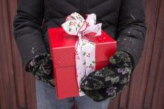 拿着圣诞节礼物的妇女手 免版税库存图片