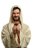 拿着圣餐杯的耶稣 免版税库存照片
