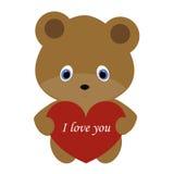 拿着在一白色backgrou的象逗人喜爱的玩具熊一个红色心脏框架 库存例证
