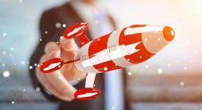 拿着在他的手3D翻译的商人红色火箭 免版税图库摄影