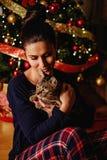 拿着在圣诞树前面的女孩猫 库存照片
