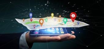 拿着在地图的商人一个3d翻译别针持有人 库存图片