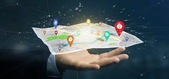 拿着在地图的商人一个3d翻译别针持有人 图库摄影