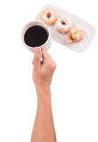拿着在多福饼IV的咖啡 免版税库存图片