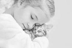 拿着在姜手上的逗人喜爱的小女孩一只小猫 库存图片
