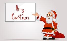 拿着在手上框架和袋子的圣诞老人 免版税图库摄影