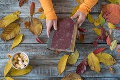 拿着在木背景的女性手一本书 秋天composi 库存图片