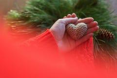 拿着在木背景的红色夹克的妇女小编织的心脏 爱和华伦泰` s天的概念 库存图片