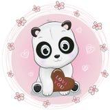 拿着在桃红色背景的逗人喜爱的动画片熊猫巧克力 向量例证