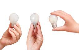 拿着在白色背景的人的手一个电灯泡 免版税库存照片