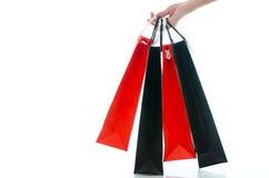 拿着在白色背景的妇女手购物袋 库存照片