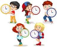 拿着在白色背景的孩子时钟 向量例证