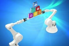 拿着在白色背景的机器人手的综合图象多色的计算机象 免版税库存照片