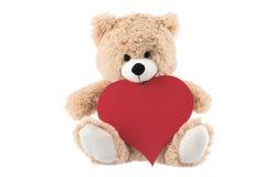拿着在白色背景的玩具熊心脏 库存照片